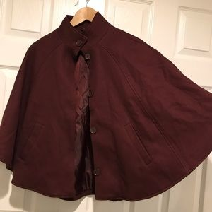 H&M Burgundy Cape Coat with Buttons size 4